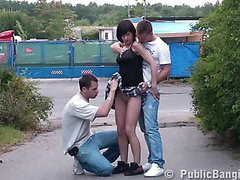 Young 18 year old girl in public threesome in the middle of a street