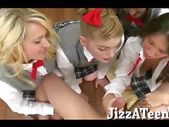 Four naughty schoolgirls nasty groupsex with one hard dick