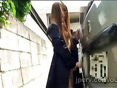 Kinky Japanese teen pleases her sweet fresh pussy in public