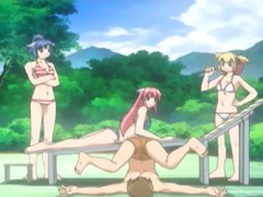 Bondage hentai guy with three swimsuit girls in the outdoors