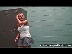 Blonde cheerleader with massive tits fucked in the locker room