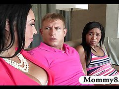 Stepmom MILF catches teen with her boyfriend and commands her