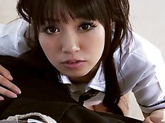 Kotomi in a schoolgirl uniform teaes her man by crawling along the floor to his hard dick