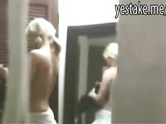 Guy caught while spying on blonde chick and is invited in
