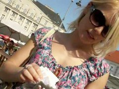 Slutty blonde chick fucked at the park in exchange for cash