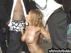 Blonde chick enjoys many black dicks