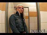 Hot amateur blonde public toilet fuck and cumshot