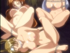 Three hentai cuties tied up and brutally fucked in a shed