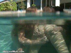 Hot Slut Cums On Dildo In The Pool