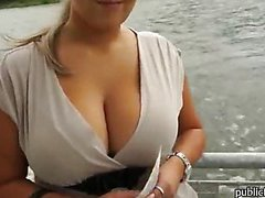 Huge juggs blonde amateur girl takes money and fucked in public