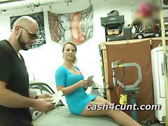 Porn guys convince girl to show pussy for cash and she gets a little horny