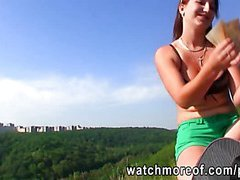 Tricked honey ends up fucked outdoors by her newly met guy for cash