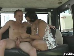 Cute girl gets in a van and sucks cock