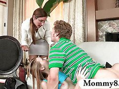 Mature MILF catches teen couple fucking in her house and joins in