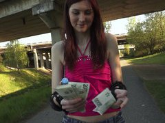 Cute girl in rollerblade flashes her ass and tits then fucked