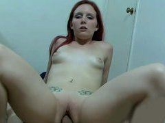 Sweet redhead chick sucks and rides on top of rock hard meat shaft