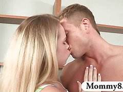 MILF stepmom plays with a teen couple in a threesome fuck