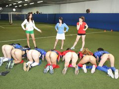 Sexy American students play naked football