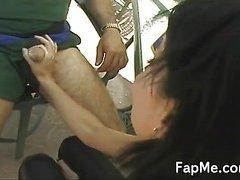 Cute girl giving an amazing handjob
