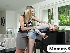MILF piano teacher threesome with an innocent teen couple