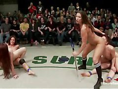 Two girls fucked by strapons