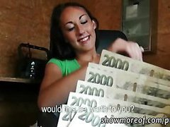 Beautiful brunette euro babe gets paid and fucked hard