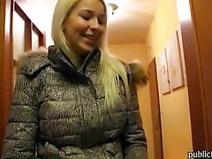 Cutie blonde amateur takes money and gives head  then doggied