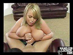 Blonde gets naked cummed in her tits