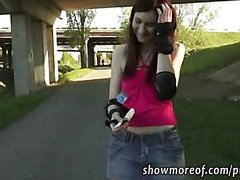 Roller skate amateur girl railed in a bushy public place