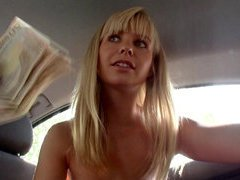Gorgeous euro chick having sex with a perfect stranger inside the car