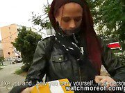 Cock addict redhead honey picked up in public and fucked by a horny stranger