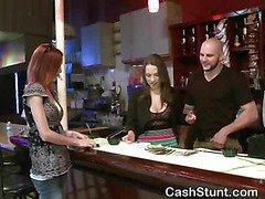 Brunette Amateur Flashing Wicked Titties In Money Talks Stunt