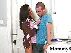 MILF teacher seduces teen couple at her house for a threesome