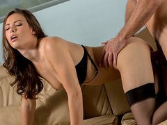 Drop dead gorgeous babe sucks and fucks a hungry hard cock on the couch